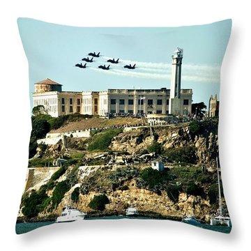 Alcatraz Blues Throw Pillow by Benjamin Yeager