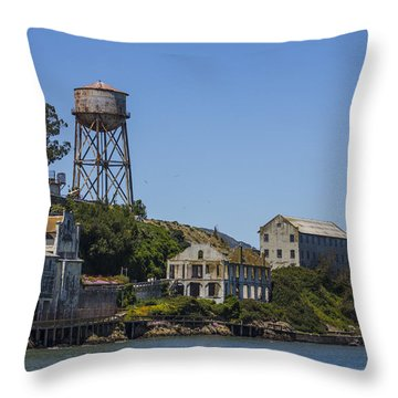 Alcatraz Dock And Water Tower Throw Pillow by John McGraw