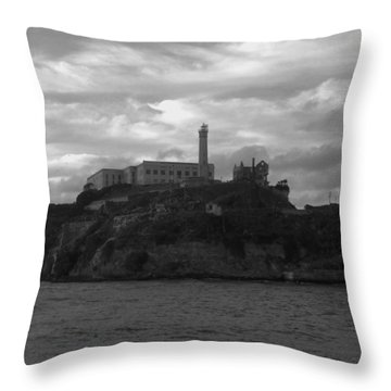 Alcatraz Island B N W Throw Pillow