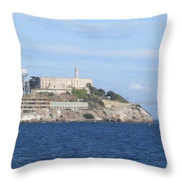 Alcatraz Island Throw Pillow by Mary Mikawoz