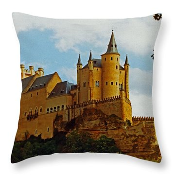 Alcazar Castle In Segovia Spain Throw Pillow