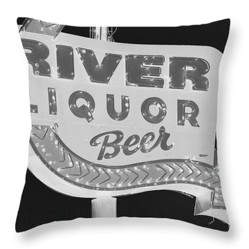 Throw Pillow featuring the photograph Alcohol Sign by Jerry Bunger