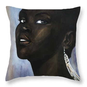 Alek Wek Throw Pillow