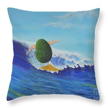 Alex The Surfing Avocado Throw Pillow
