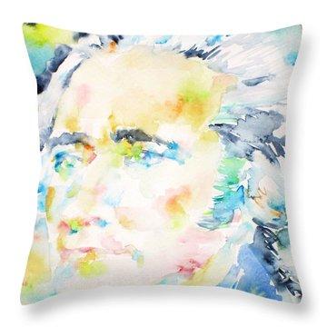Alexander Hamilton - Watercolor Portrait Throw Pillow by Fabrizio Cassetta