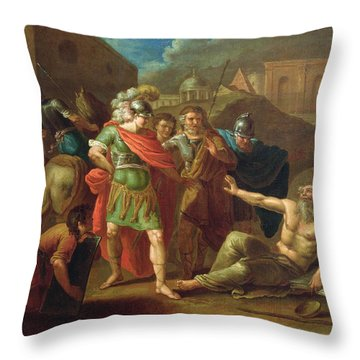 Alexander The Great Visits Diogenes At Corinth, 1787 Oil On Canvas Throw Pillow