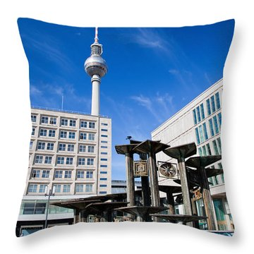 Alexanderplatz View On Television Tower Berlin Germany Throw Pillow