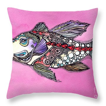 Alexandria The Fish Throw Pillow by Iya Carson