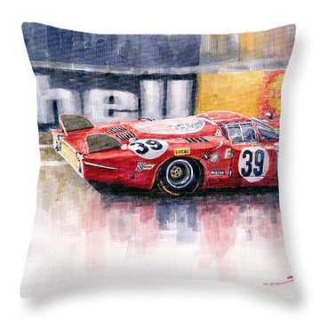 Alfa Romeo T33 B2 Le Mans 24 1968 Galli Giunti Throw Pillow by Yuriy  Shevchuk