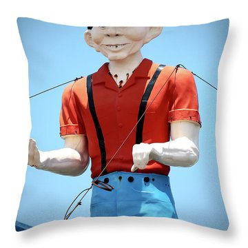 Alfred E Newman At The Jersey Shore Throw Pillow by John Rizzuto
