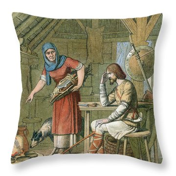 Alfred The Great, Legend Of The Cakes Throw Pillow by Photo Researchers