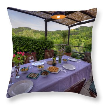 Alfresco Dining In Tuscany Throw Pillow