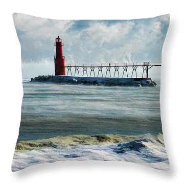 Algoma Pierhead Lighthouse Throw Pillow