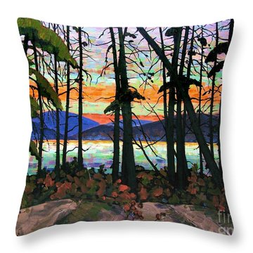 Algoma Sunset Acrylic On Canvas Throw Pillow by Michael Swanson