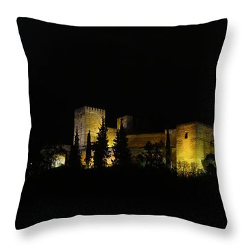 Alhambra At Night Throw Pillow by Rudi Prott