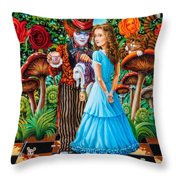 Alice And Mad Hatter. Part 2 Throw Pillow