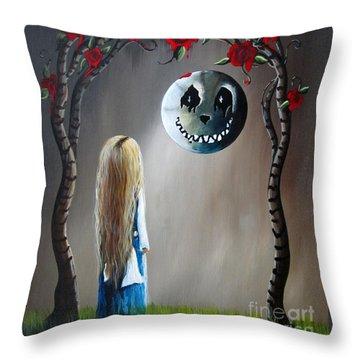 Alice In Wonderland Original Artwork - Alice And The Beautiful Nightmare Throw Pillow