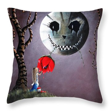 Alice In Wonderland Original Artwork - Alice And The Dripping Rose Throw Pillow