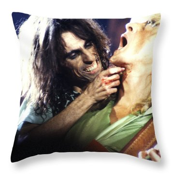 Alice Cooper 1975 Throw Pillow by Chris Walter