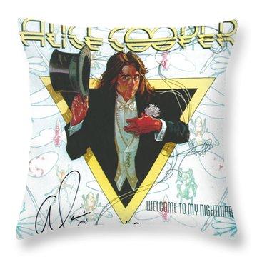 Alice Cooper Original Signature On Welcome To My Nightmare Album Artwork. Throw Pillow