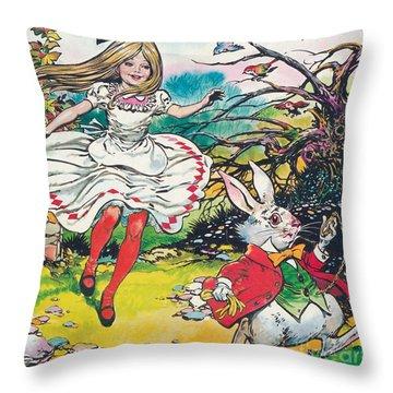 Alice In Wonderland Throw Pillow by Jesus Blasco
