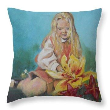 Alice In Wonderland Throw Pillow by Joyce Reid