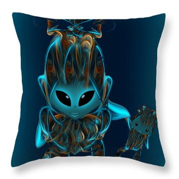 Alien Babygirl And Doll - Art For Kids By Giada Rossi Throw Pillow by Giada Rossi