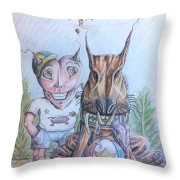 Alien Boy And His Best Friend Throw Pillow