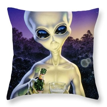 Alien Brew Throw Pillow