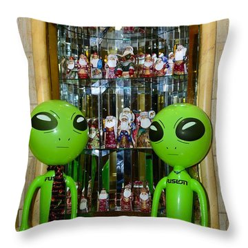 Alien Christmas Tour Throw Pillow