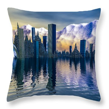 Alien Cityscape  Throw Pillow by Arlene Sundby
