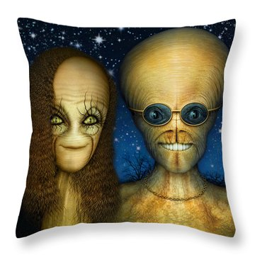 Alien Couple Throw Pillow