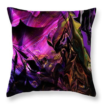 Throw Pillow featuring the digital art Alien Floral Fantasy by David Lane