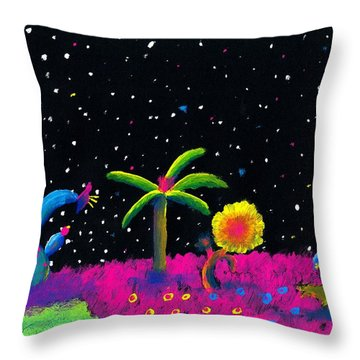Alien Garden Throw Pillow