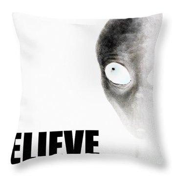 Alien Grey - Believe Inverted Throw Pillow by Pixel Chimp