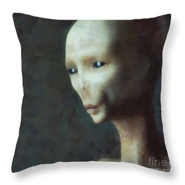 Alien Grey Thoughtful  Throw Pillow by Pixel Chimp