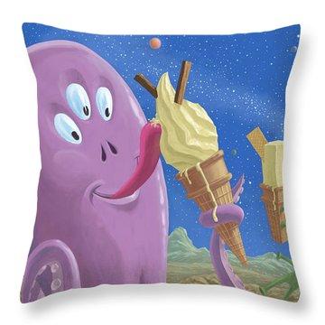 Alien Ice Cream Throw Pillow