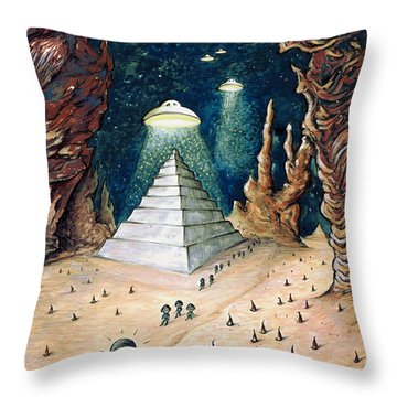 Alien Invasion - Space Art Painting Throw Pillow