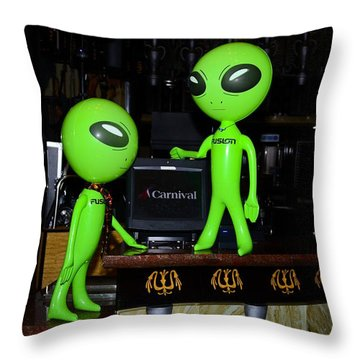 Alien Monitor Repair Throw Pillow