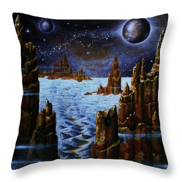 Ice And Snow  Planet  Throw Pillow