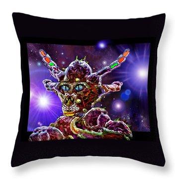 Throw Pillow featuring the digital art Alien Portrait by Hartmut Jager