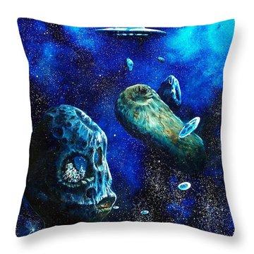 Alien Space Hideout Throw Pillow by Murphy Elliott