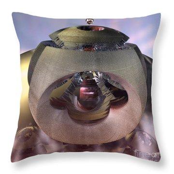 Throw Pillow featuring the digital art Alien Spacecraft by Melissa Messick