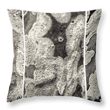 Alien Triptych Landscape Bw Throw Pillow