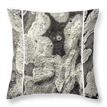 Alien Triptych Landscape Bw Throw Pillow