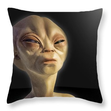 Alien Yearbook Photo Throw Pillow