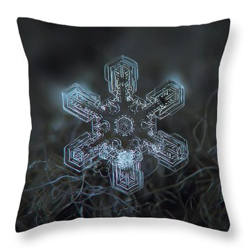 Throw Pillow featuring the photograph Snowflake Photo - Alioth by Alexey Kljatov