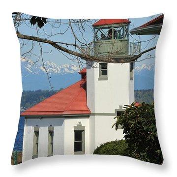 Alki Lighthouse Throw Pillow