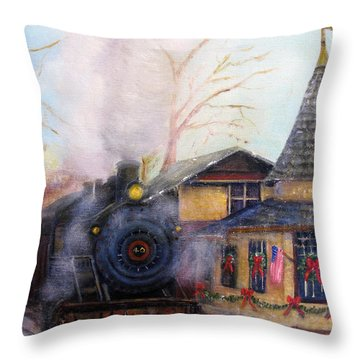 All Aboard At The New Hope Train Station Throw Pillow by Loretta Luglio