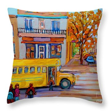 All Aboard The School Bus Montreal Street Scene Throw Pillow by Carole Spandau